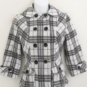 Maurices Jackets & Coats - Maurices Black White Plaid Button Up Jacket Size M